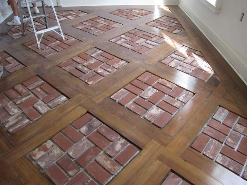 Brick floor tile installation photos acadian brick for Floor brick